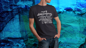 T-shirt Mock-up vintage retro background navy